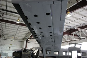 Underside picture of left wing with access plates removed.