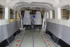 Interior of N853PA with floor boards pulled.