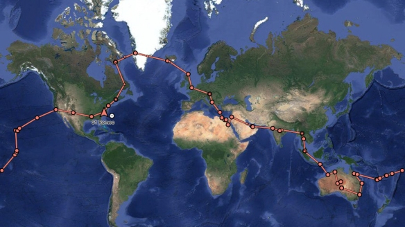 ATW2016 Route as Tracked by InReach Unit